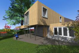 Extension et surélévation d'une maison dans le Cantal