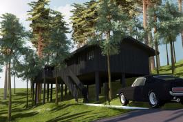 Villa 4 pièces, construction à ossature bois.
