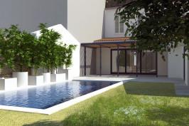 Echoppe  Hoche avec piscine et aménagement des espaces extérieurs.
