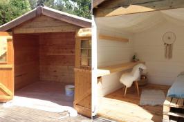 Transformation d'un abri de jardin en espace de détente cosy