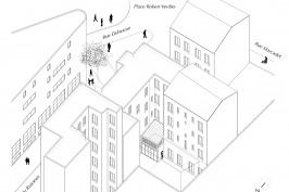 Extension d'un appartement dans une cour d'immeuble