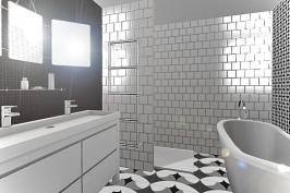 etude salle de bain noir et blanc