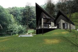 Maison en pente à l'orée du bois