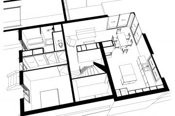 Surélévation et réaménagement d'une maison de faubourg