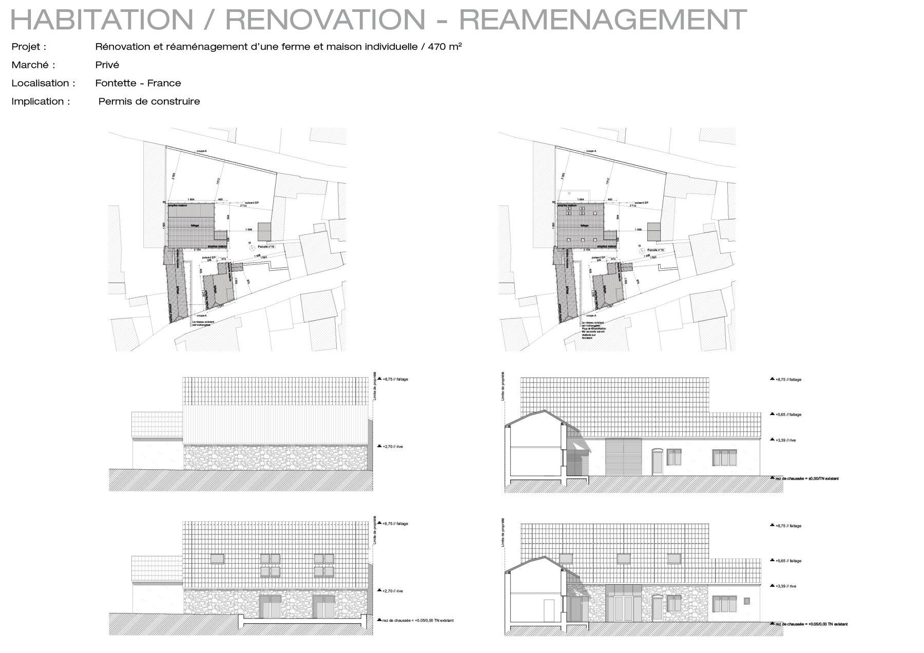 Rénovation et réaménagement d'une ferme en maison individuelle