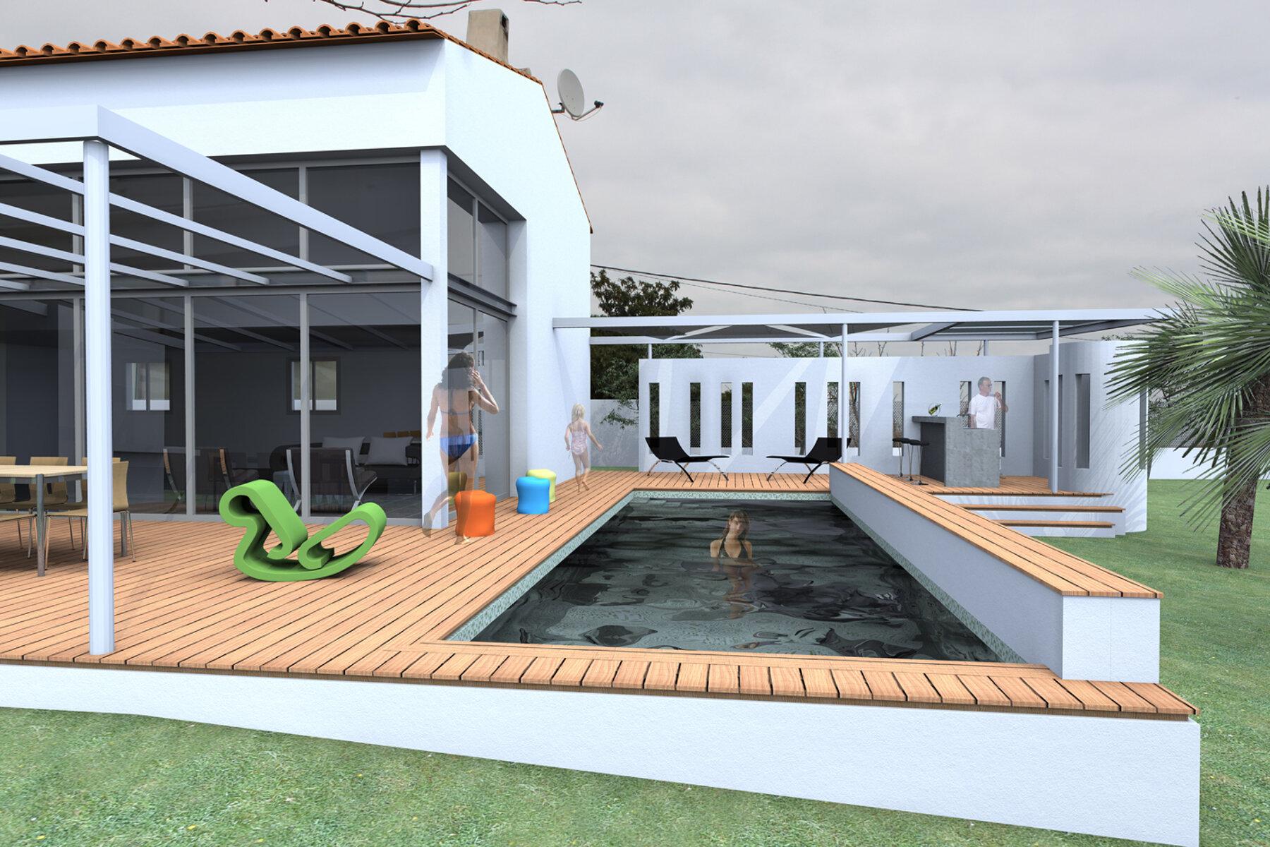 Piscine et pool house de la villa B