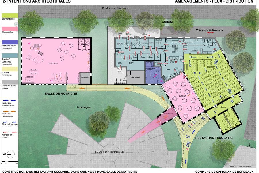 Projet Construction d'un restaurant scolaire et salle de motricité - Carignan de Bordeaux réalisé par un architecte Archidvisor