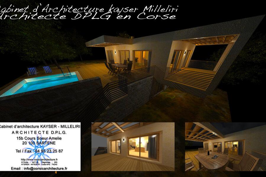 Maison contemporaine en Corse avec piscine / Villa d'Architecte DPLG / Résidence Secondaire