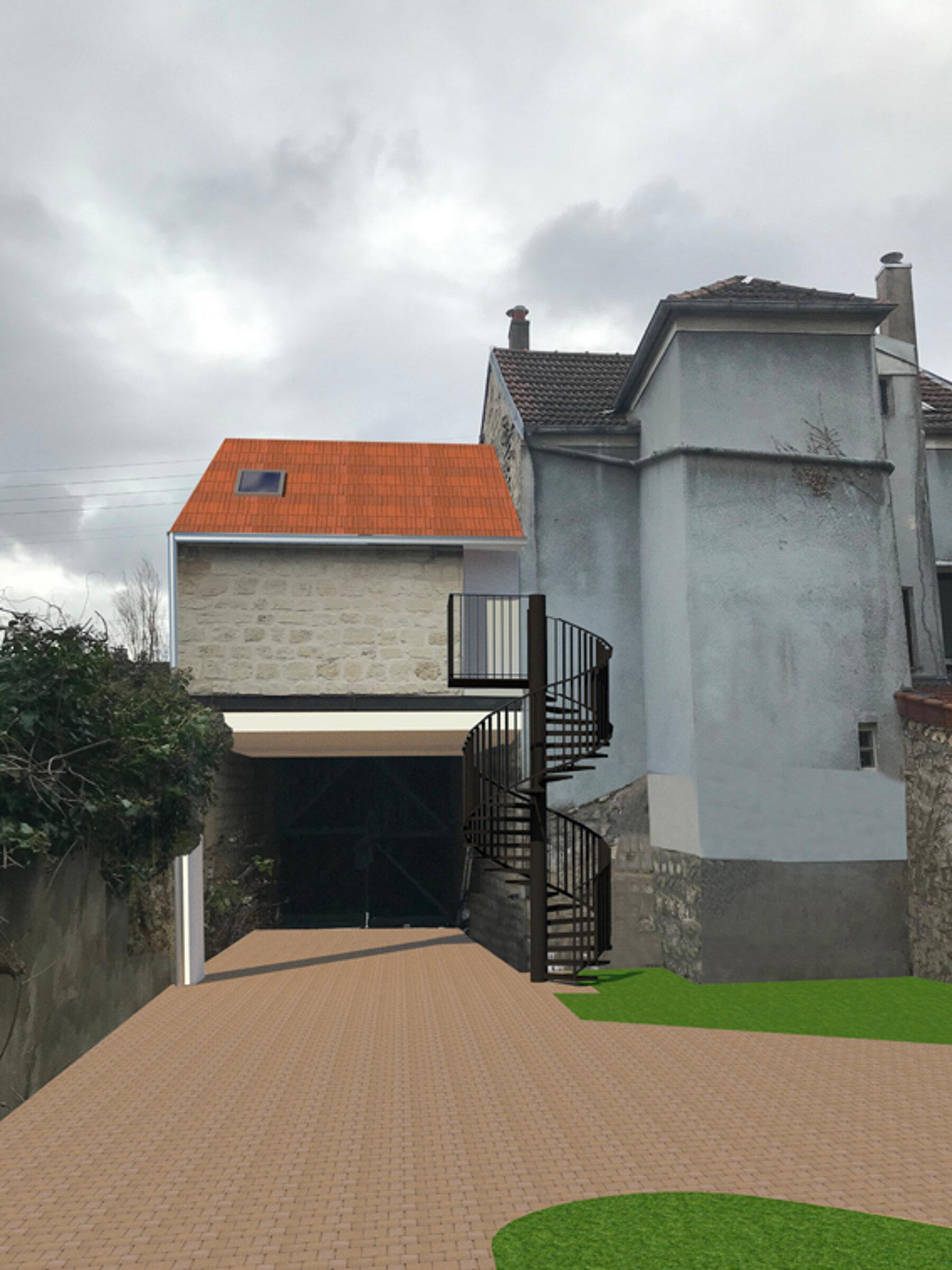 Restructuration d'une grange en habitation , création d'une lucarne de toiture , esclaier extérieur et rénovation intérieure complète